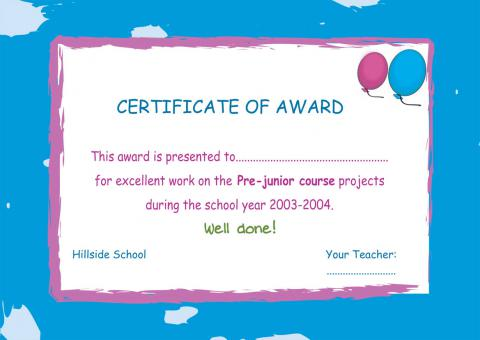 Pre Juniors Courses Award
